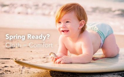Spring Ready - with baby on surfboard